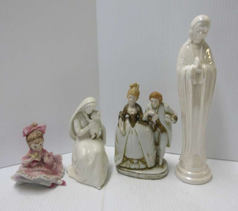 (4) Figures, Include: Goebel Madonna and Child, Full Bee Mark; 1930 Japan; Lefton China; Unmarked
