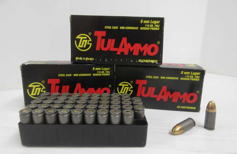 (3) Boxes of 9mm Ammo, Tul Ammo Brand