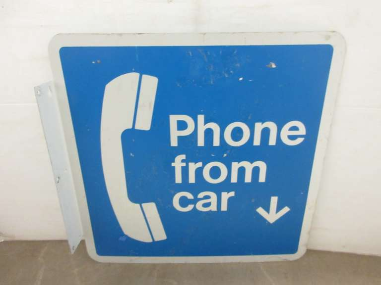 "Metal Double-Sided ""Phone From Car"" Flange Sign"