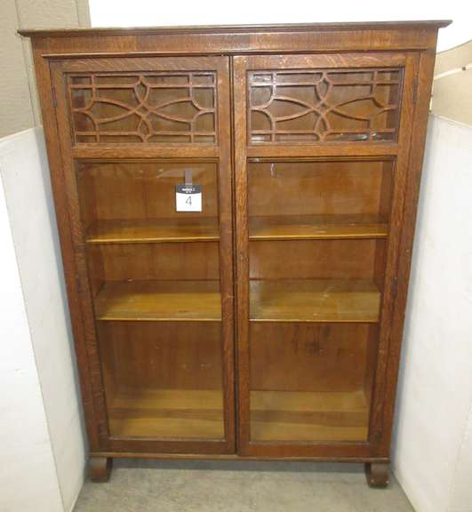 Antique Oak China Cabinet with Three Adjustable Shelves, Scroll Wood Detailing on Upper Glass Doors, and Original Key to Lock, No Identifying Brand