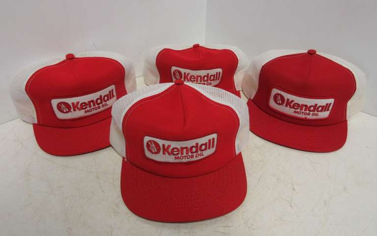 (4) Kendall Motor Oil Mesh Hats from the 1980s, All are Made in the USA