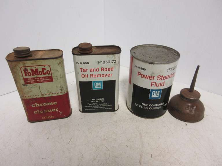(4) Old Ford and GM Oil Cans