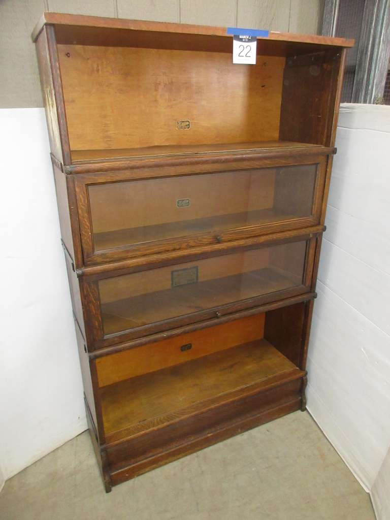 Older Hales Interchangeable Bookcase, Herkimer, NY Barrister Bookcase, Four Sections and Base, Two Sections have Sliding Glass Doors