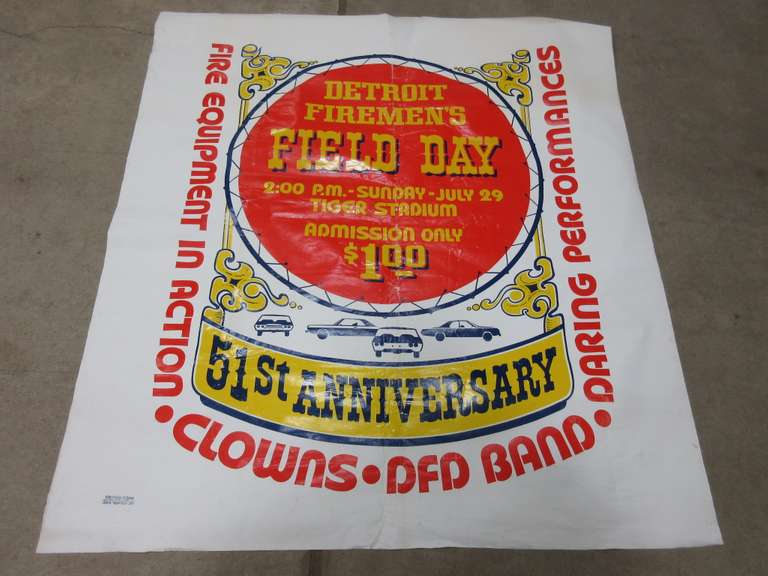 1973 Detroit Firemen's Field Day Banner at Detroit Tiger Stadium, Made of Canvas Material by Sign and Pictorial Local 591