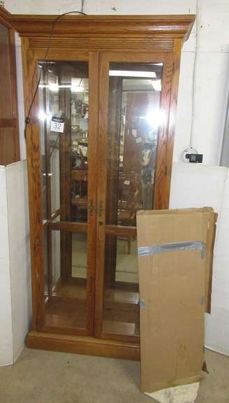 Wood Grain China Cabinet with Glass Shelves