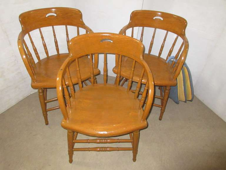 Set of (3) Firehouse Captains Chairs with Seat Pads