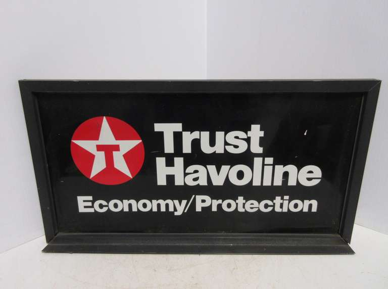 Older Tobacco Havoline Double-Sided Advertising Display Sign in Metal Frame