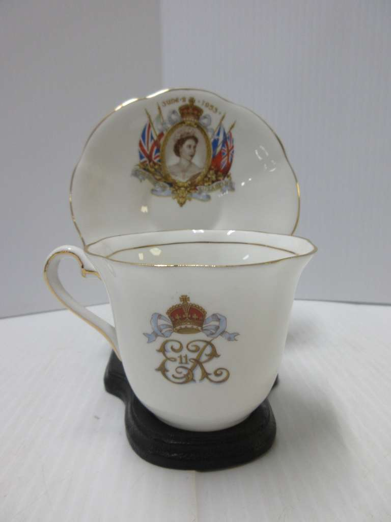 Old Queen Elizabeth Coronation Cup, Saucer, and Stand