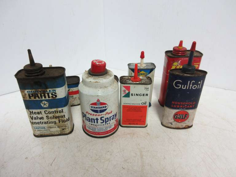 (8) Old Oil Cans, Light Fluids, and Plant Spray