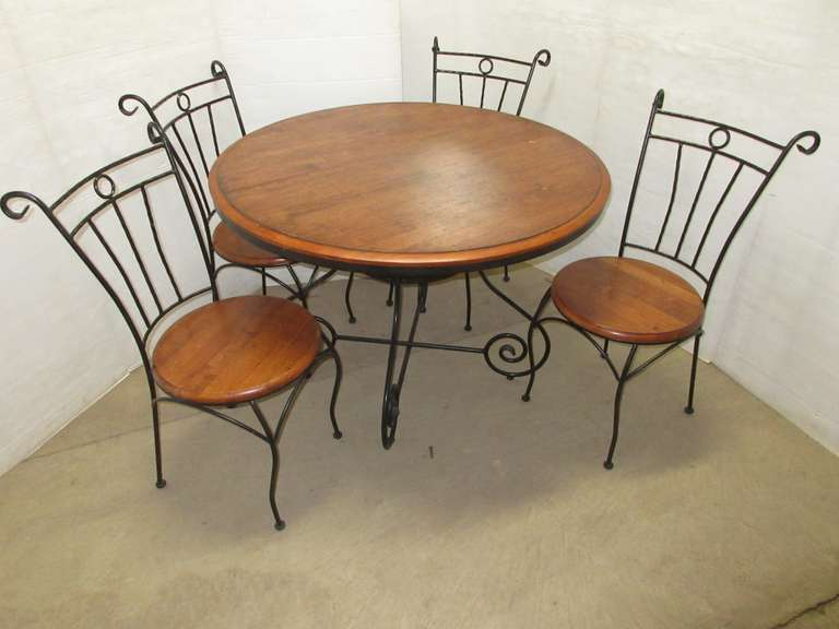 High Quality Wood and Wrought Iron Table and (4) Chairs Set, Heavy Duty
