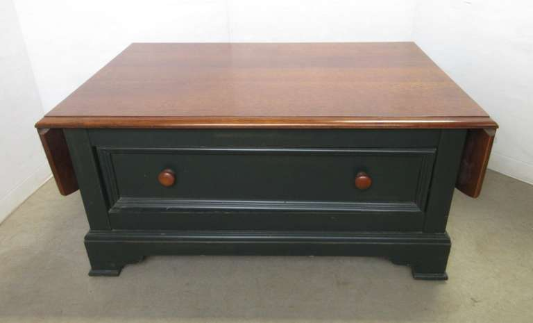 Hammary Coffee Table with Drop Sides and Drawer, Made by Hamilton House, Cherry with Painted Bottom