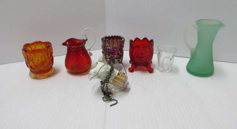 "Joe St. Clair Signed Carnival Glass Indian Toothpick Holder, Boyd Glass Indian Toothpick, Amberina 3 1/2"" Blown Glass Pitcher, 3"" Match Holder Vase to Hang on an Oil Lamp, and More"