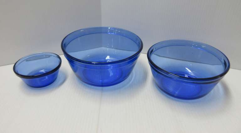 Anchor Ovenware Three-Piece Blue Glass
