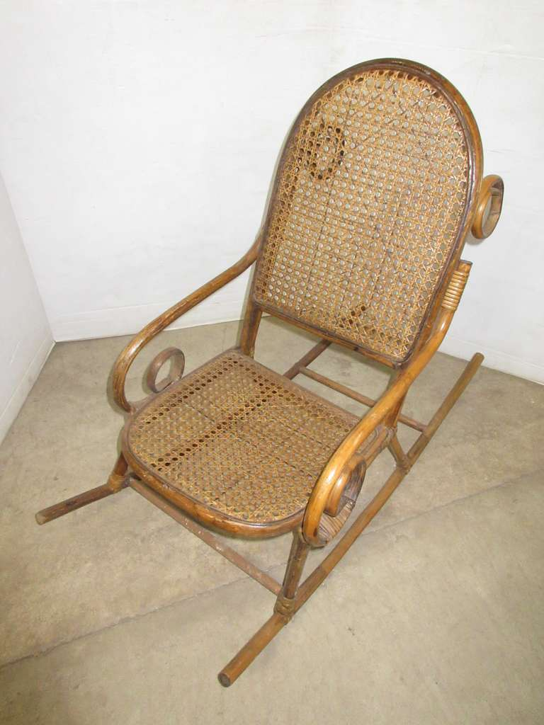 Antique Handmade Wicker Childs Rocker