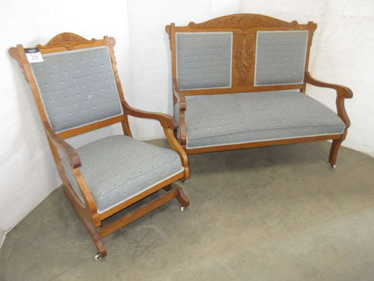 Matching Antique Eastlake Tiger Oak Bench and Rocking Chair, All Casters are Porcelain