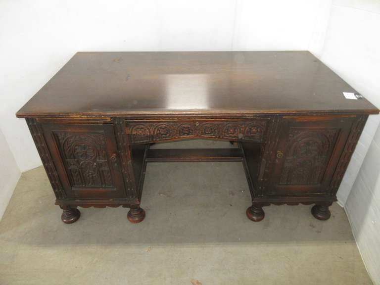 Antique 1920s White Oak Executive Desk with Hand Carved Panels, Key in Office