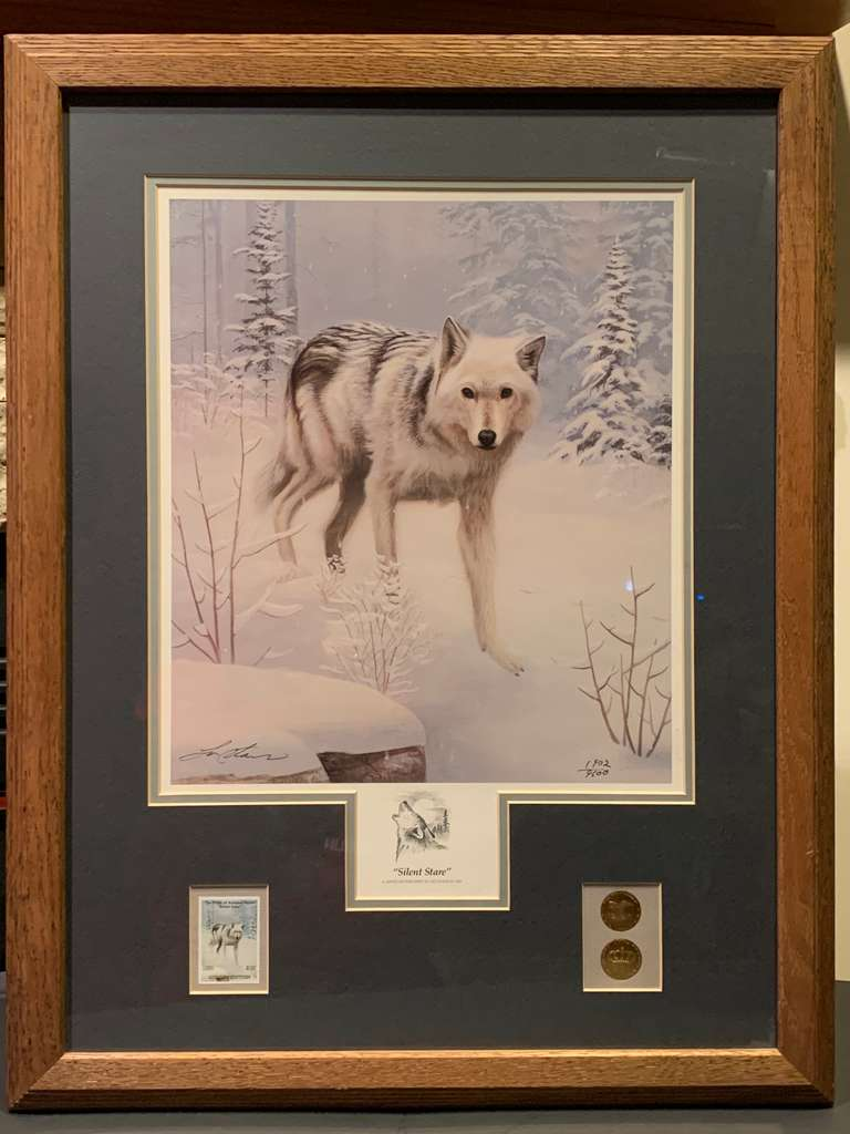"Wolf Print by Leo Stans, ""Silent Stare"", 1992, Hand Signed, Framed, and Numbered 1902/9600, Collector Edition"