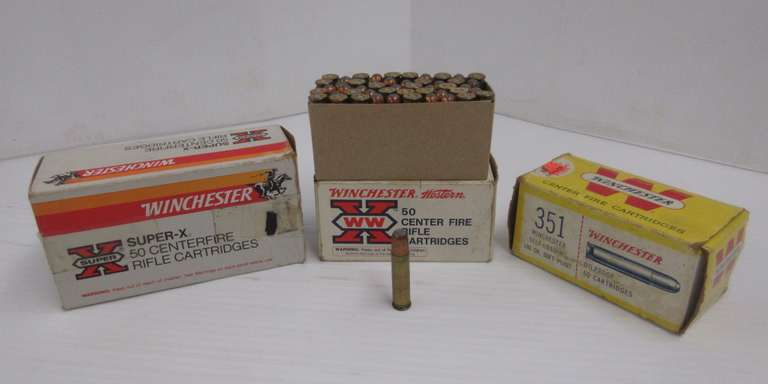 (3) Boxes of 50 Winchester .351 Centerfire, One Box Only Has 21 Rounds
