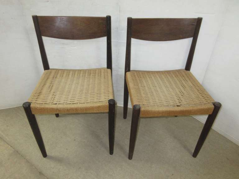 (2) Danish Modern Teak with Rope Seat Chairs
