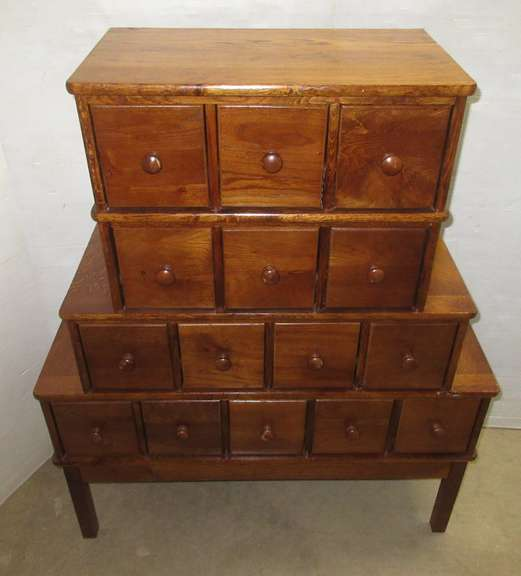 15-Drawer Wood Cabinet