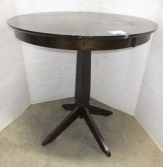 Round Dark Wood High Top Table