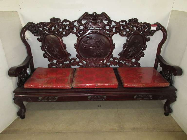 Oriental Couch with Heavy Detailing, Matches Lot Nos. 6, 7, and 24