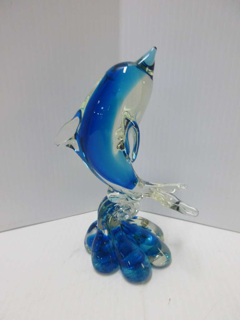 Murano Glass Dolphin Figurine, Made in Italy