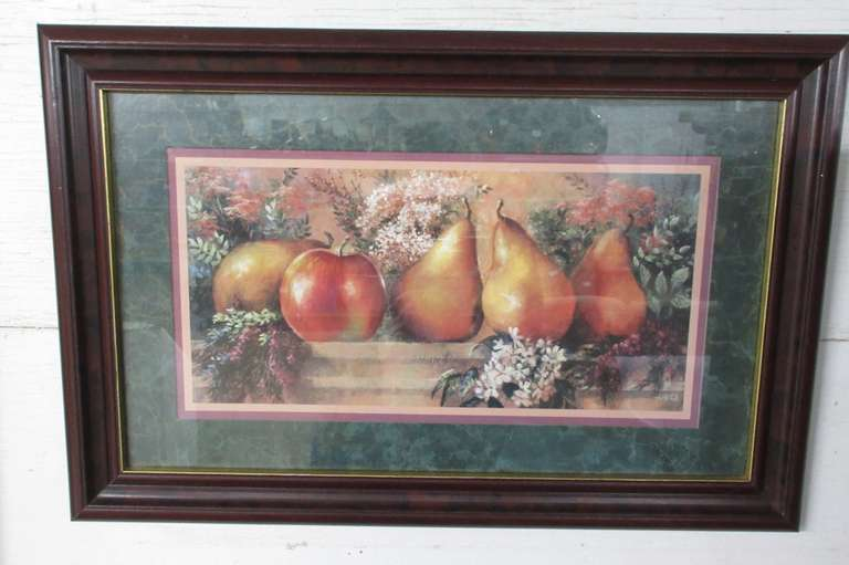 Older Home Interiors Homco Bountiful Fruit Picture of Apple and Pears, Framed