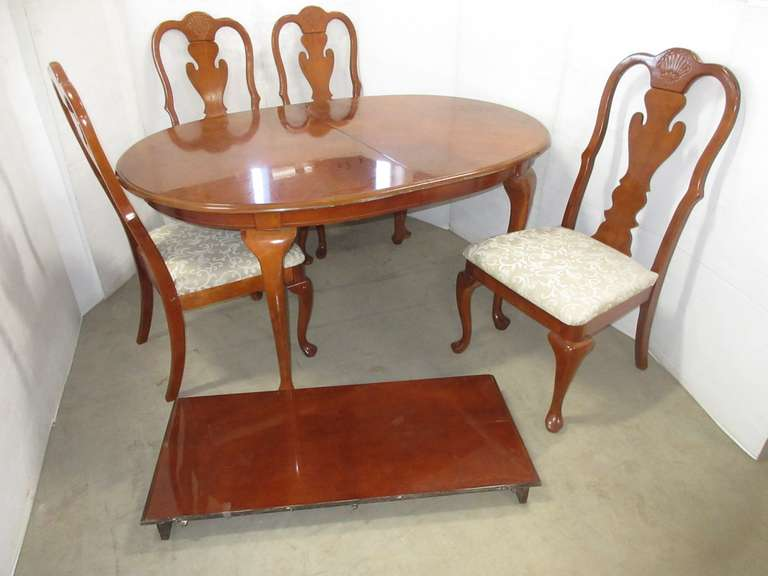 "Queen Anne Style Dining Set, All Cherry Wood, Solid Wood, Includes: Table, 62""W x 43""D x 30""H; Leaf, 18""W; (4) Chairs"