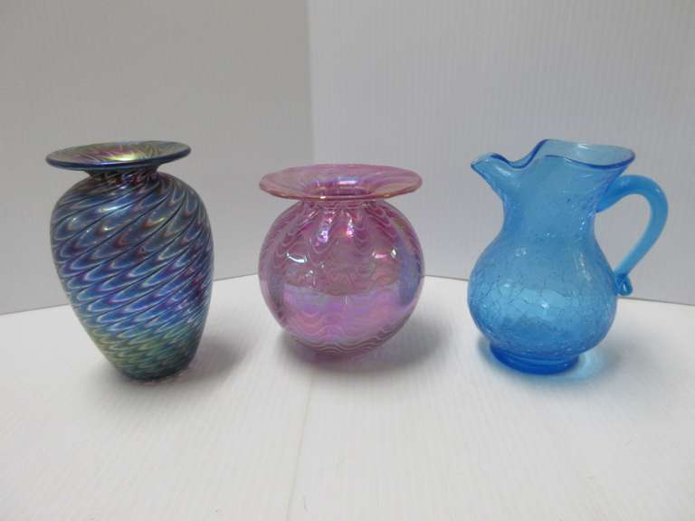 (2) Contemporary Art Glass Vases and a Blue Crackle Glass Pitcher