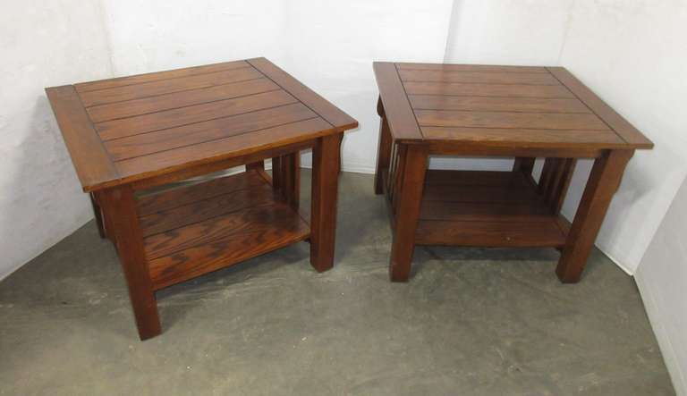 (2) Mission Style Wood End Tables