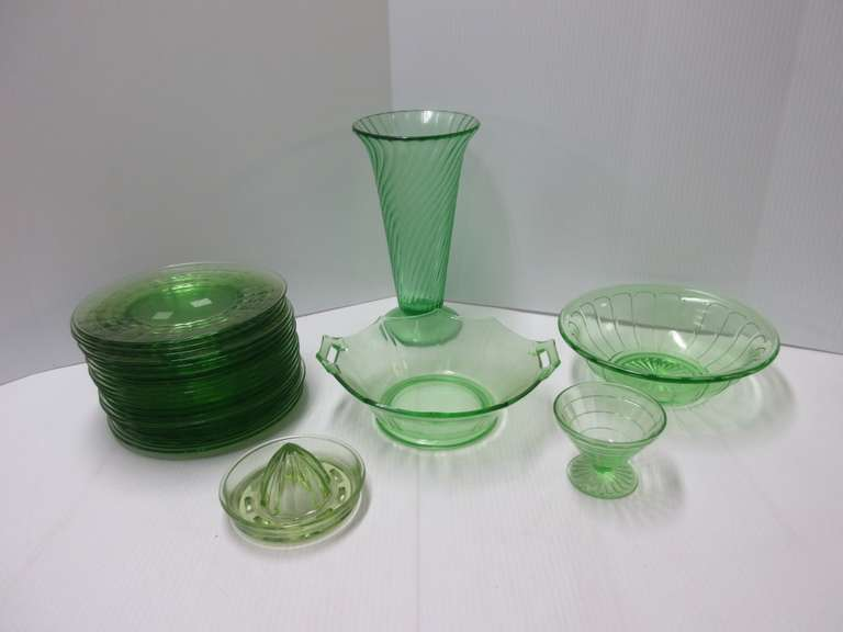 "Old Green Depression Glass Pieces, Include: Vase, 10 1/2""H; (2) Serving Bowls; Juicer; (19) Plates; Sherbert Cup"