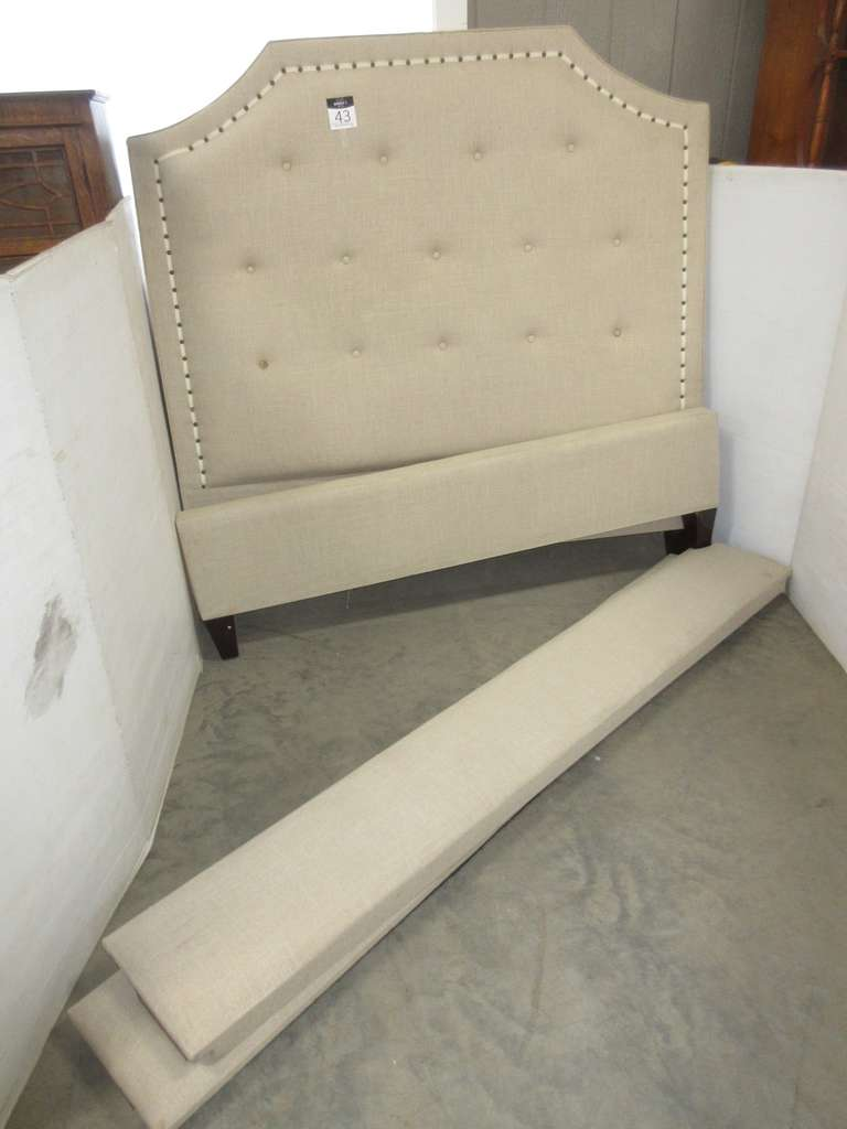 Button Tufted Upholstered Headboard, Footboard, and Side Rails, Queen Size