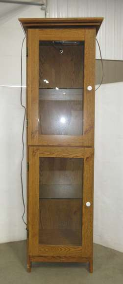 Wood Grain Cabinet with Lights
