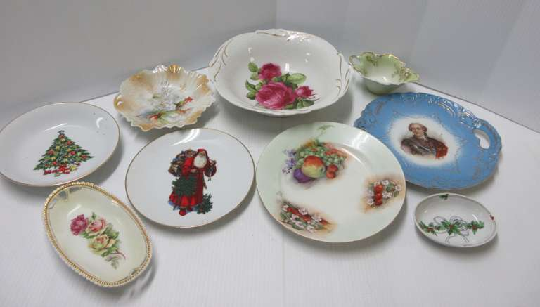 (9) Old Decorative Plates and Small Dishes, Some Marked on Backs