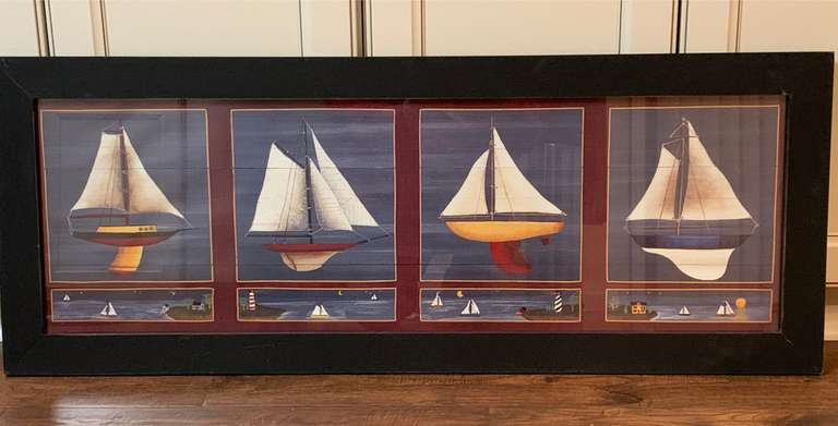 Nautical Marine Sailing Ships in Full Sail Framed Wall Art
