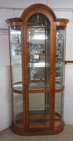 Lighted Curio Cabinet with Three Glass Shelves, and Four Corner Glass Shelves