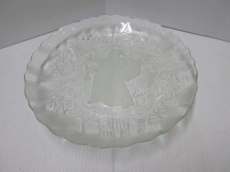Frosted Glass Santa Platter