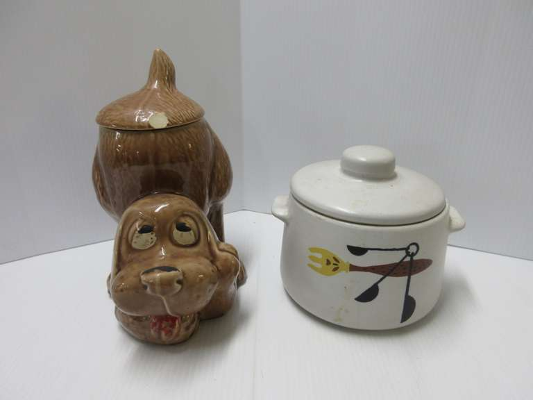 "Cookie Jars, Include: McCoy Dog, 0272, 10""H, Chip on Lid and Paint Loss; Westbend USA Jar, 6""H, No Chips"