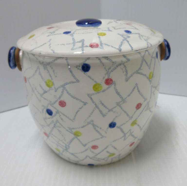 Art Pottery Biscuit Jar with Wicker Handle