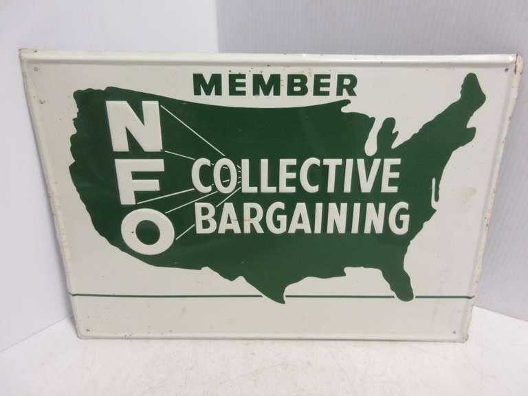 "Tin Antique ""NFO"" National Farmers Org Sign"