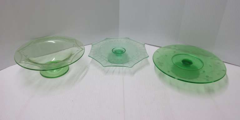 (3) Old Etched Green Depression Glass Footed Servers
