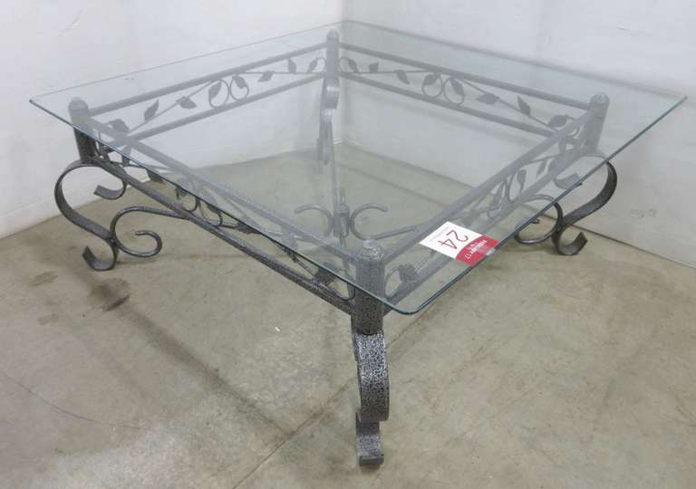 Large Wrought Iron Leaf Design Glass Top Coffee Table