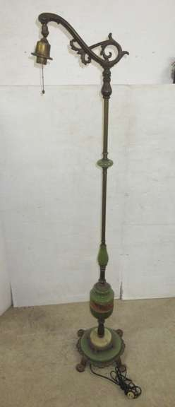 Antique Jadeite Floor Lamp, Brass and Wrought Iron Base
