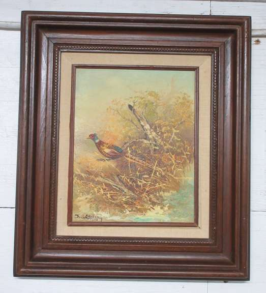 Original Signed J. Graham Oil Painting of a Pheasant in a Wood Frame