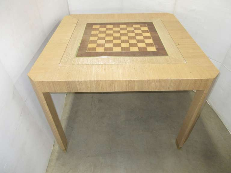 Burlap Wrapped Gaming Table, Has Checkers, Backgammon, and Card Insert