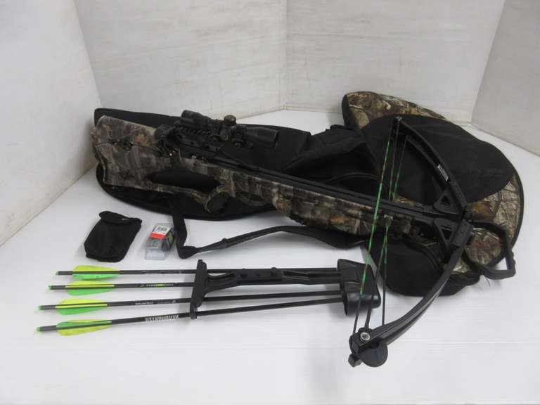Barnett Quad 400 Crossbow with Scope, Case, Cocking Device, Wax, Quiver, Sling, (3) Broadheads, and (1) Decock Arrow