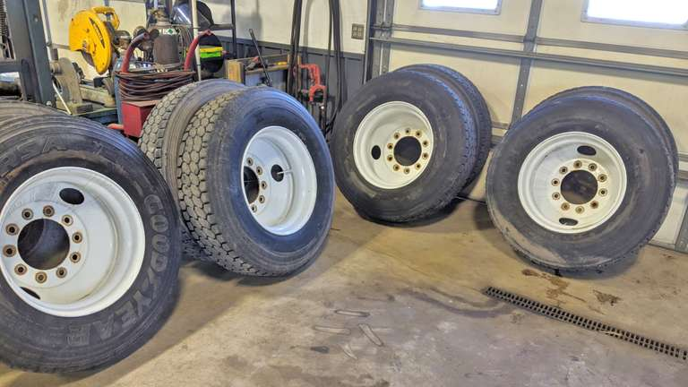 "Set of (8)-11R225 Re-Tread Truck Tires on Steel 10-Bolt Hub-Pilot Rims:  4-at 1/4"" Tread, 2-at 5/32"" Tread, 1-at 3/16"" Tread, and 1-at 9/32"" Tread"