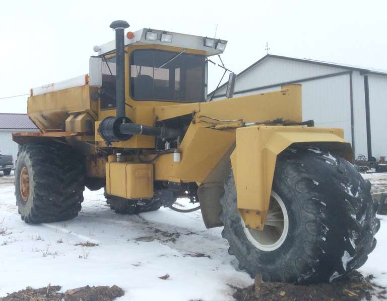 Big A 3-Wheeler Fertilizer Spreader with a 3208 CAT Engine, Rebuilt Automatic Transmission, Runs and Drives Great, Brakes Work, Spreader Box Needs Some Repair