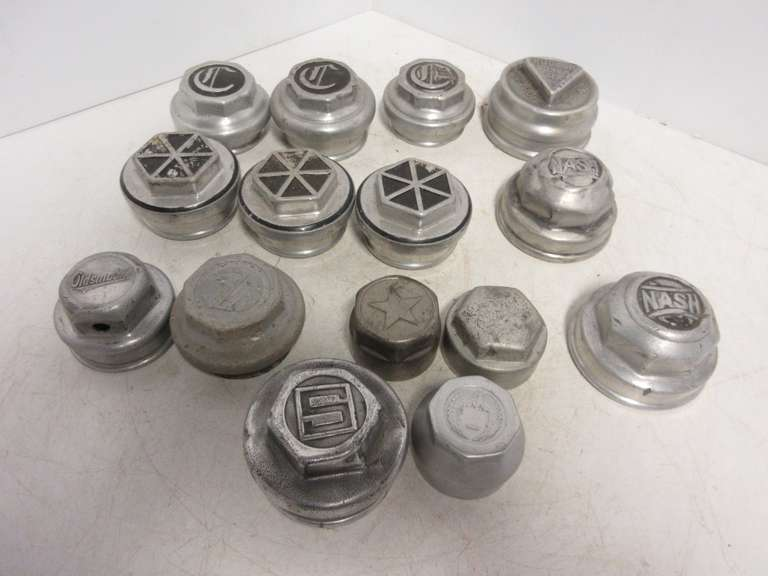 (14) Antique Automobile Threaded Hub Caps, Include: Nash, Studebaker, Star, Chrysler, and Hudson